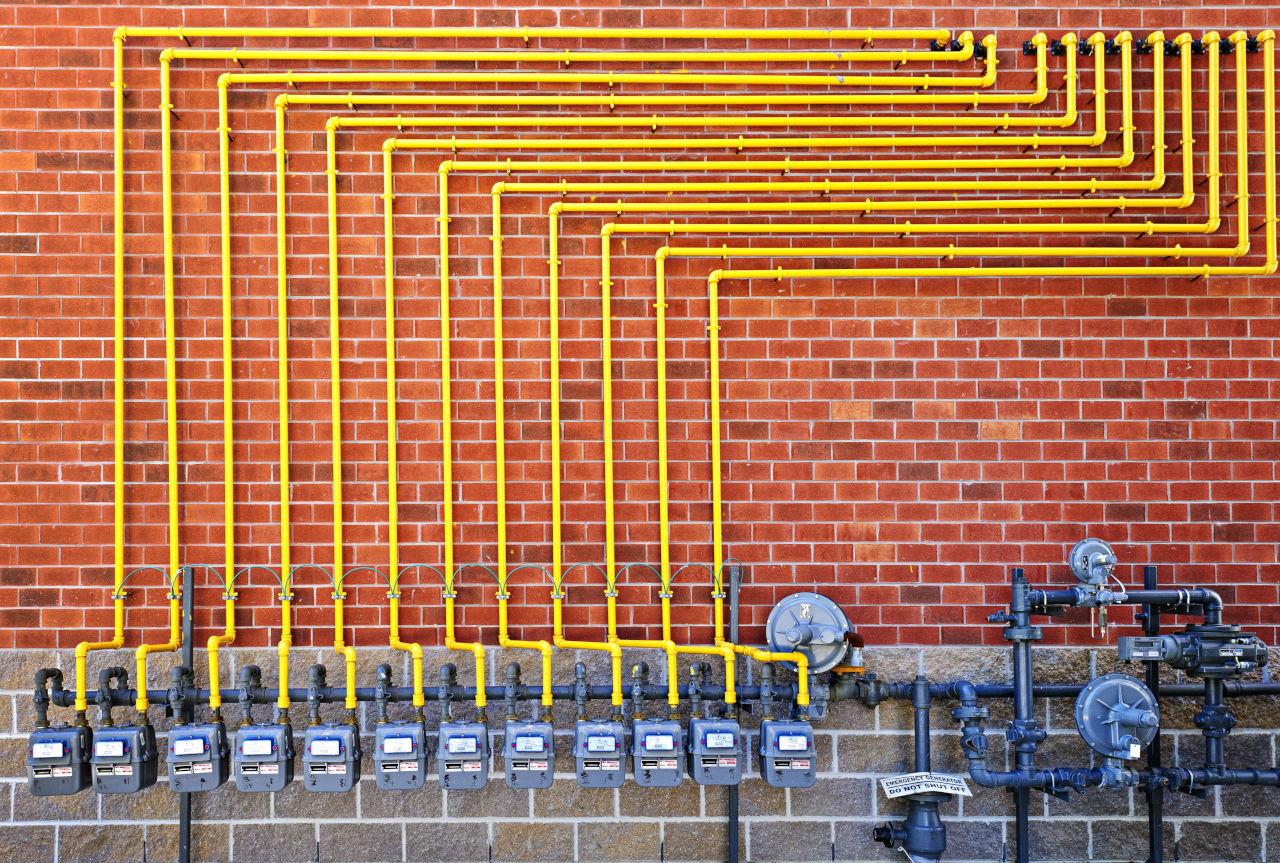 Gas meters on brick wall